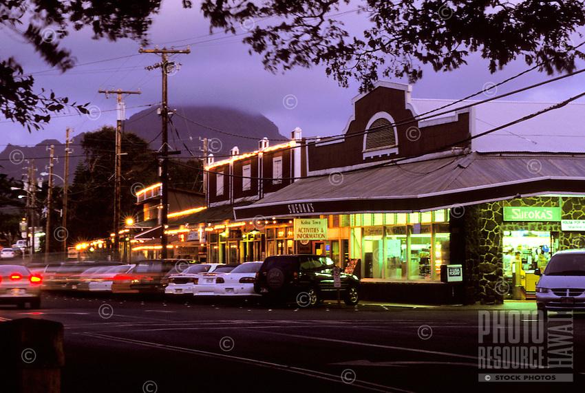 Koloa town shops at sunset, Kauai