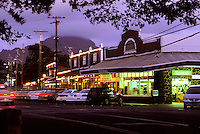 Koloa town shops at sunset, Kauai