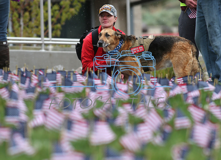 Army veteran Sarah Goulet and her service dog Chaos participate in the Western Nevada College 2nd annual Suicide Awareness March in Carson City, Nev. on Saturday, May 7, 2016. The event raises awareness about the average 22 veteran suicides each day in the U.S. and the local services available to help. <br />Photo by Cathleen Allison/Nevada Photo Source
