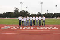 STANFORD, CA - JANUARY 9:  Kyle White, Mary Jo Alexander, David Vidal, Hakon DeVries, Edrick Floreal, Jason Dunn, Garrett Heath, Andrew Ninow and Toby Stevenson of the Stanford Cardinal during track and field picture day on January 9, 2009 at the Arrillaga Center for Sports and Recreation in Stanford, California.
