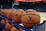 CHARLOTTESVILLE, VA - FEBRUARY 15: Virginia practice balls. The University of Virginia Cavaliers hosted the University of Notre Dame Fighting Irish on February 15, 2018 at John Paul Jones Arena in Charlottesville, VA in a Division I women's college basketball game. Notre Dame won the game 83-69.