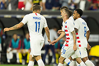CLEVELAND, OHIO - JUNE 22: Jordan Morris, Christian Pulisic,Weston McKennie during a 2019 CONCACAF Gold Cup group D match between the United States and Trinidad & Tobago at FirstEnergy Stadium on June 22, 2019 in Cleveland, Ohio.