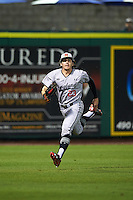 Maryland Terrapins left fielder Madison Nickens (23) tracks down a fly ball during a game against the Louisville Cardinals on February 18, 2017 at Spectrum Field in Clearwater, Florida.  Louisville defeated Maryland 10-7.  (Mike Janes/Four Seam Images)