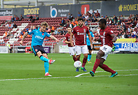 Conor McAleny of Fleetwood Town has a shot on goal during the Sky Bet League 1 match between Northampton Town and Fleetwood Town at Sixfields Stadium, Northampton, England on 12 August 2017. Photo by Alan  Stanford / PRiME Media Images.