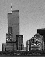 The twin towers of the World Trade Center dominate the New York City skyline in the pre-9-11 days of summer 1999.  Digitally manipulated image.  (Photo by Brian Cleary/www.bcpix.com)