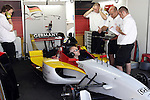 DURBAN - 25 February 2007 - Technical staff of Team Germany test their car's computerised electronics prior to the sprint race at the A1 Grand Prix in Durban, South Africa, on Sunday. Team Germany's Nico Huelkenberg will start the feature race in pole position on Sunday afternoon. Picture: Allied Picture Press/APP