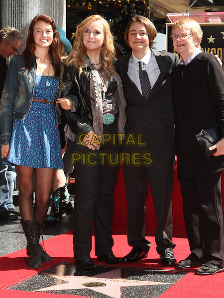 Melissa Etheridge with her Children and Mother.Melissa Etheridge Honored with a star on the Hollywood Walk of Fame  Held at On Hollywood Blvd., Hollywood, California, USA..27 September 2011 .full length black jacket jeans denim suit  leather studs studded blue dress jacket kids mother mom mum grandmother grandma daughter son grandchildren family boots.CAP/ADM/KB.©Kevan Brooks/AdMedia/Capital Pictures.