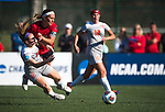 KANSAS CITY, MO - DECEMBER 02: Abby Rhodes (10) of the University of Central Missouri collides with Jaidyn Zapf (26) of Carson-Newman University during the Division II Women's Soccer Championship held at the Swope Soccer Village on December 2, 2017 in Kansas City, Missouri. (Photo by Doug Stroud/NCAA Photos/NCAA Photos via Getty Images)