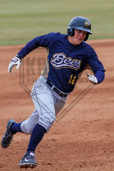 Burlington Bees infielder Jordan Zimmerman (12) during a Midwest League game against the Wisconsin Timber Rattlers on April 11th, 2017 at Fox Cities Stadium in Appleton, Wisconsin.  Wisconsin defeated Burlington 4-3. (Brad Krause/Krause Sports Photography)