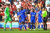Marc Albrighton of Leicester City consoles Wes Morgan of Leicester City after he is sent off by Referee Craig Pawson   during AFC Bournemouth vs Leicester City, Premier League Football at the Vitality Stadium on 15th September 2018