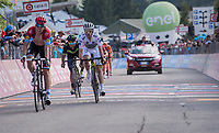 the duel for the Maglia Bianca / best young rider is faught directly up to the finish line between Bob Jungels (LUX/Quick-Step Floors) & Adam Yates (GBR/Orica-Scott)<br /> <br /> Stage 19: San Candido/Innichen › Piancavallo (191km)<br /> 100th Giro d'Italia 2017