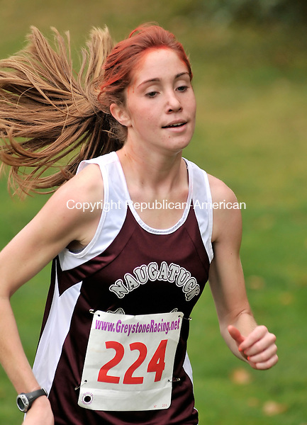 WATERTOWN, CT-21 OCTOBER 2009-102109JS11-Naugatuck's Rosa Moriello finished first with a timw of 17:50 during the NVL Cross Country championships Wednesday at Veteran's Memorial Park in Watertown. <br /> Jim Shannon Republican-American