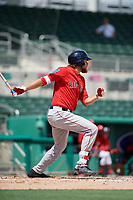 Boston Red Sox left fielder Trey Ball (57) hits a single during a Florida Instructional League game against the Baltimore Orioles on September 21, 2018 at JetBlue Park in Fort Myers, Florida.  (Mike Janes/Four Seam Images)