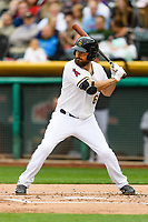 Dustin Ackley (6) of the Salt Lake Bees at bat against the Sacramento River Cats in Pacific Coast League action at Smith's Ballpark on April 11, 2017 in Salt Lake City, Utah. The River Cats defeated the Bees 8-7. (Stephen Smith/Four Seam Images)