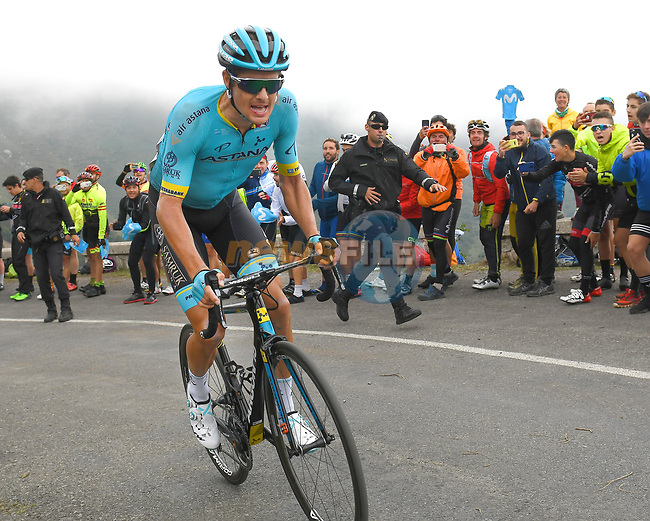 Jakob Fuglsang (DEN) Astana Pro Team attacks on the final climb of Stage 16 of La Vuelta 2019  running 144.4km from Pravia to Alto de La Cubilla. Lena, Spain. 9th September 2019.<br /> Picture: Karlis | Cyclefile<br /> <br /> All photos usage must carry mandatory copyright credit (© Cyclefile | Karlis)