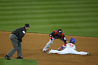 Hiroyuki Nakajima of Japan tags out Yongkyu Lee of Korea at second base during the World Baseball Classic at Dodger Stadium on March 23, 2009 in Los Angeles, California. (Larry Goren/Four Seam Images)