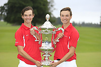 Nicolai Hojgaard and Rasmus Hojgaard team Denmark winners of the World Amateur Team Championships Eisenhower Trophy 2018, Carton House, Kildare, Ireland. 08/09/2018.<br /> Picture Fran Caffrey / Golffile.ie<br /> <br /> All photo usage must carry mandatory copyright credit (© Golffile | Fran Caffrey)