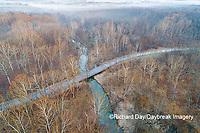 63895-17004 Road & bridge at sunrise Stephen A. Forbes State Park-aerial-Marion Co. IL