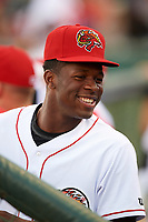 Florida Fire Frogs pitcher Touki Toussaint (20) in the dugout during the teams inaugural game against the Daytona Tortugas on April 6, 2017 at Osceola County Stadium in Kissimmee, Florida.  Daytona defeated Florida 3-1.  (Mike Janes/Four Seam Images)