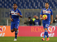 Calcio, Serie A: Roma vs Sampdoria. Roma, stadio Olimpico, 7 febbraio 2016.<br /> Sampdoria&rsquo;s Lucas Fernando, left, celebrates with teammate Fabio Quagliarella after scoring during the Italian Serie A football match between Roma and Sampdoria at Rome's Olympic stadium, 7 January 2016.<br /> UPDATE IMAGES PRESS/Riccardo De Luca