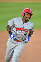 Northwest League All-Star Xavier Turner (9) of the Spokane Indians rounds the bases after hitting a home run against the Pioneer League All-Stars at the 2nd Annual Northwest League-Pioneer League All-Star Game at Lindquist Field on August 2, 2016 in Ogden, Utah. The Northwest League defeated the Pioneer League 11-5. (Stephen Smith/Four Seam Images)