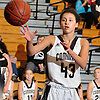 Sydney Rosenoff #43 of Commack takes an inbounds pass during a Suffolk Shootout tournament game against Central Islip at Northport High School on Thursday, Dec. 28, 2017. She scored eight points in the third quarter. Commack won by a score of 58-34.