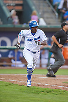 Carlos Rincon (27) of the Ogden Raptors runs down the first base line against the Great Falls Voyagers at Lindquist Field on August 16, 2017 in Ogden, Utah. The Voyagers defeated the Raptors 11-6. (Stephen Smith/Four Seam Images)