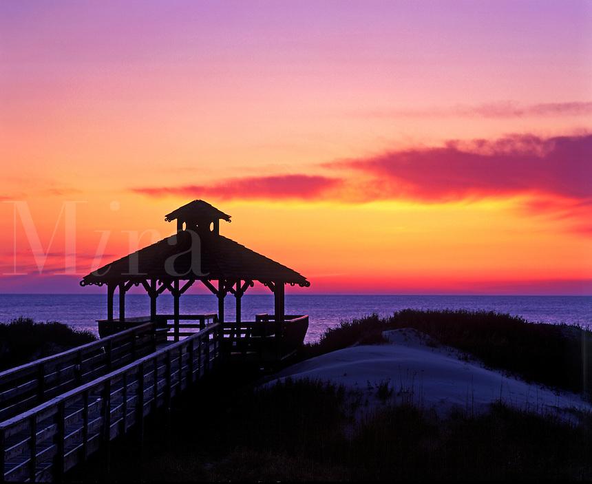 Beachfront gazebo at sunrise, Outer Banks, North Carolina