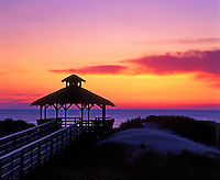 Beachfront gazebo at sunrise, Outer Banks, North Carolina