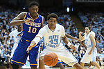 22 December 2012: North Carolina's James Michael McAdoo (43) and McNeese State's Caig McFerrin (10). The University of North Carolina Tar Heels played the McNeese State University Cowboys at the Dean E. Smith Center in Chapel Hill, North Carolina in an NCAA Division I Men's college basketball game. UNC won the game 97-63.
