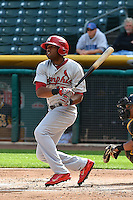Xavier Scruggs (16) of the Memphis Redbirds at bat against the Salt Lake Bees at Smith's Ballpark on June 18, 2014 in Salt Lake City, Utah.  (Stephen Smith/Four Seam Images)