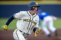 Michigan Wolverines third baseman Blake Nelson (10) runs to third base against the Indiana State Sycamores on April 10, 2019 in the NCAA baseball game at Ray Fisher Stadium in Ann Arbor, Michigan. Michigan defeated Indiana State 6-4. (Andrew Woolley/Four Seam Images)