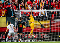 COLLEGE PARK, MD - NOVEMBER 03: Owen Finnerty #22 of Michigan makes a save during a game between Michigan and Maryland at Ludwig Field on November 03, 2019 in College Park, Maryland.