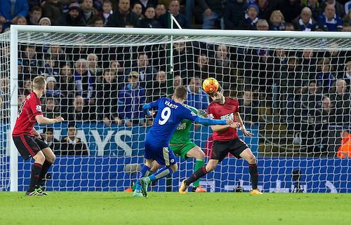 01.03.2016. King Power Stadium, Leicester, England. Barclays Premier League. Leicester versus West Bromwich Albion. West Bromwich Albion midfielder Claudio Yacob heads the ball clear of Leicester City striker Jamie Vardy in the West Bromwich goal area.
