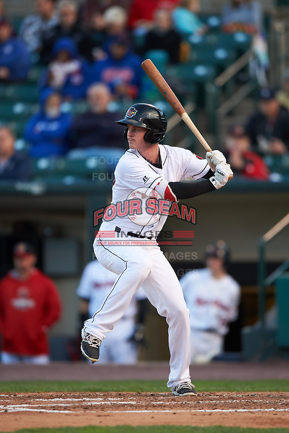 Rochester Red Wings second baseman James Beresford (2) at bat during a game against the Toledo Mudhens on May 12, 2015 at Frontier Field in Rochester, New York.  Toledo defeated Rochester 8-0.  (Mike Janes/Four Seam Images)