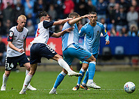Bolton Wanderers' Eddie Brown (2nd left) competing with Coventry City's Liam Kelly <br /> <br /> Photographer Andrew Kearns/CameraSport<br /> <br /> The EFL Sky Bet Championship - Bolton Wanderers v Coventry City - Saturday 10th August 2019 - University of Bolton Stadium - Bolton<br /> <br /> World Copyright © 2019 CameraSport. All rights reserved. 43 Linden Ave. Countesthorpe. Leicester. England. LE8 5PG - Tel: +44 (0) 116 277 4147 - admin@camerasport.com - www.camerasport.com