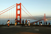 USA, California, San Francisco, tourists admire and take pictures of the Golden Gate Bridge, view from the North end, the Marin Headlands