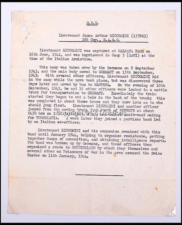 BNPS.co.uk (01202 558833)Pic: C&TAuctions/BNPS<br /> <br /> A letter explaining Lieutenant James Riccomini MBE's capture in 1941.<br /> <br /> The remarkable story of an SAS hero who escaped captivity by jumping out of a moving train and carried out daring raids behind enemy lines before he was killed storming a German stronghold can be told after his bravery medals emerged for sale.<br /> <br /> After escaping his German captors, Lieutenant James Riccomini MBE spent four months assisting Italian resistance fighters with ammunition drops and intelligence gathering before scaling the Alps to reach neutral Switzerland when his cover was blown.<br /> <br /> Ten months later, he was dropped behind enemy lines and led a fearless ambush of a German armoured column before he was killed in action heading up an assault during the legendary Operation Tombola.<br /> <br /> His MBE, Military Cross and other medals along with letters he wrote to his wife, documents and photos are tipped to sell for £12,000.