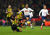 30th January 2019, Wembley Stadium, London England; EPL Premier League football, Tottenham Hotspur versus Watford; Etienne Capoue of Watford tackles Lucas Moura of Tottenham Hotspur