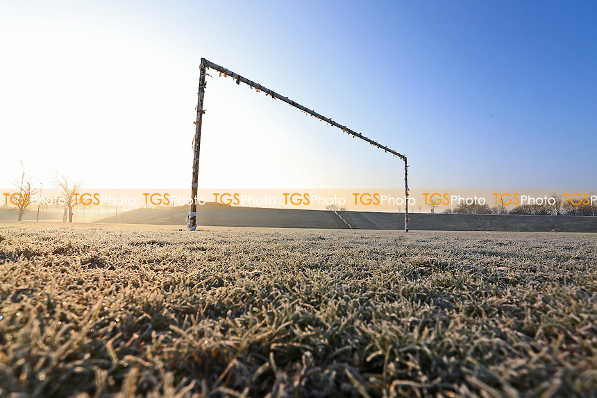 General view of empty football pitches and goalposts. Freezing temperatures and a hard overnight frost bring about the postponement of dozens of Hackney & Leyton Sunday League Football matches at Hackney Marshes on 22nd January 2017