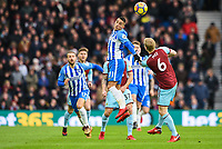 Anthony Knockaert of Brighton & Hove Albion (11) Heads the ball  during the EPL - Premier League match between Brighton and Hove Albion and Burnley at the American Express Community Stadium, Brighton and Hove, England on 16 December 2017. Photo by Edward Thomas / PRiME Media Images.