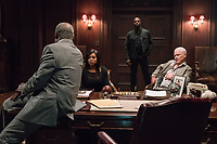 Proud Mary (2018) <br /> Benny (Danny Glover)  and his close associates Tom (Billy Brown), Mary(Taraji P. Henson) and Walter (Neal McDonough) discuss how to react to Uncle's mysterious murder<br /> *Filmstill - Editorial Use Only*<br /> CAP/KFS<br /> Image supplied by Capital Pictures