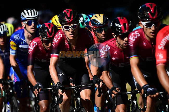 The peloton including Geraint Thomas (WAL) Team Ineos in action during Stage 5 of the 2019 Tour de France running 175.5km from Saint-Die-des-Vosges to Colmar, France. 10th July 2019.<br /> Picture: ASO/Alex Broadway | Cyclefile<br /> All photos usage must carry mandatory copyright credit (© Cyclefile | ASO/Alex Broadway)