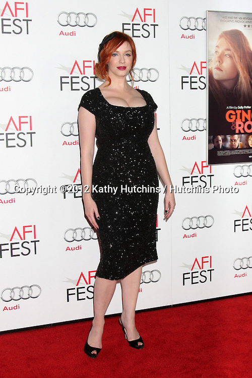 """LOS ANGELES - NOV 7:  Christina Hendricks arrives at the """"Ginger And Rosa"""" Special Screening at Graumans Chinese Theater on November 7, 2012 in Los Angeles, CA"""