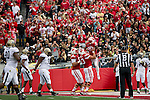 Wisconsin Badgers offensive lineman Dallas Lewallen (73) celebrates running back James White (20) touchdown during an NCAA Big Ten Conference football game against the Purdue Boilermakers on Saturday, September 21, 2013, in Madison, Wis. (The Badgers won 41-10. (Photo by David Stluka)