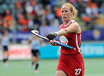 The Hague, Netherlands, June 14: Lauren Crandall #27 of USA gestures during the field hockey bronze medal match (Women) between USA and Argentina on June 14, 2014 during the World Cup 2014 at Kyocera Stadium in The Hague, Netherlands. Final score 2-1 (2-1)  (Photo by Dirk Markgraf / www.265-images.com) *** Local caption ***