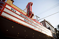 The marquee of the Buskirk-Chumley Theater announces a laureate recital by harpist Remy van Kesteren as part of the 11th USA International Harp Competition in Bloomington, Indiana on Saturday, July 6, 2019. (Photo by James Brosher)