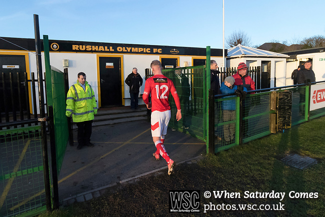 Rushall Olympic 1 Workingon 0, 17/02/2018. Dales Lane, Northern Premier League Premier Division. Workington's Joel Sammuel leaves thge field at full time watched by disappointed Workington fans. Photo by Paul Thompson.