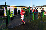 Rushall Olympic 1 Workingon 0, 17/02/2018. Dales Lane, Northern Premier League Premier Division. Workington's Joel Sammuel leaves thge field at full time watched by disappointed Workington fans. Photo by Paul Thompson. Rushall Olympic 1 Workingon 0, Northern Premier League Premier Division, 17th February 2018. Rushall is a former mining village now part of the northern suburbs of Walsall.