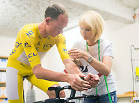 Picture by Alex Broadway/ASO/SWpix.com - 20/07/16 - Cycling - Tour de France 2016 - Stage Seventeen - Berne to Finhaut-Emosson - Chris Froome of Great Britain and Team Sky is fitted for his Time Trial suit by Le Coq Sportif.<br /> <br /> NOTE : FOR EDITORIAL USE ONLY. COMMERCIAL ENQUIRIES IN THE FIRST INSTANCE TO simon@swpix.com THIS IS A COPYRIGHT PICTURE OF ASO. A MANDATORY CREDIT IS REQUIRED WHEN USED WITH NO EXCEPTIONS to ASO/ALEX BROADWAY